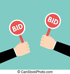 Hand hold paddle with BID. Bidding, Auction concept. Vector illustration.