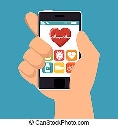 hand hold smarphone fitness application