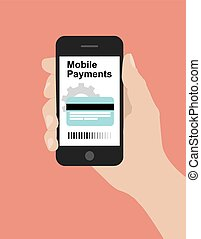 Hand hold smart phone, online banking concept