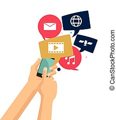 hand hold smart phone video chat music media