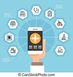 Hand Hold Smart Phone With Medical Application Medicine Icons Social Network Online Treatment Concept