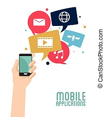 hand hold smartphone mobile applications