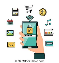 hand hold smartphone online security design vector...