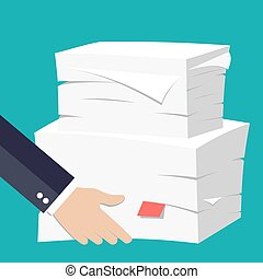 hand hold Stack of papers