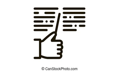 hand hold stick and reading Icon Animation. black hand hold stick and reading animated icon on white background