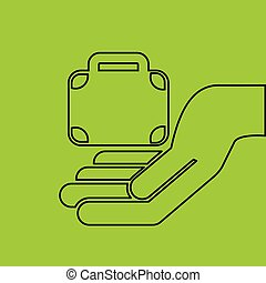 hand hold suitcase business e-commerce icon