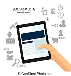 hand hold tablet social media communication