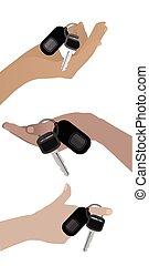 Hand hold the keys to the car three