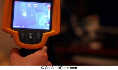 Hand hold thermal image camera, on-screen computer system unit, speakers, monitor, projector