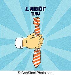 Hand Hold Tie Business Man Collar Worker Labor Day