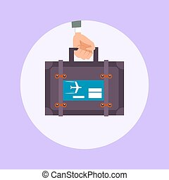 Hand hold travel suitcase cartoon vector