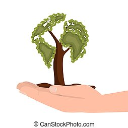hand hold tree ecology icon design