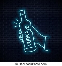 Hand hold vodka bottle neon sign. Male hand holding a vodka on wall background 10 eps