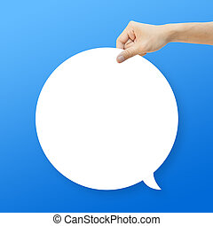 Hand hold white bubble quote chat on blue background
