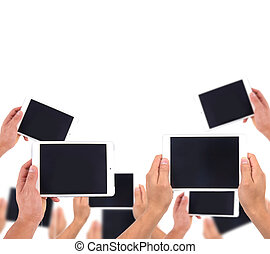 hand hold white tablet