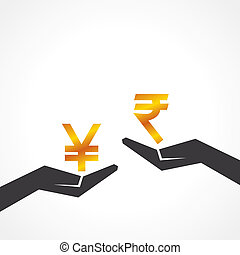 Hand hold yen and rupee symbol