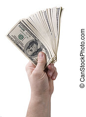 hand holding 100 dollars banknotes isolated on white