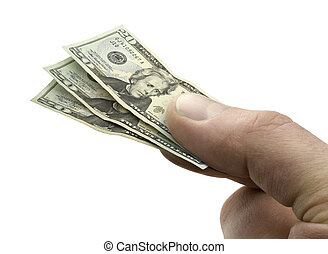 Hand Holding $20 Bills - Very Small $20 Bills in Hand on...