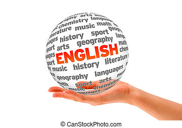 English - Hand holding a 3d English Word Sphere on white ...