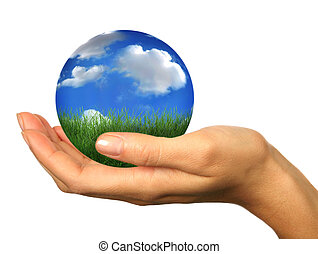 Hand Holding a 3D Globe Landscape Planet Earth - Human Hand ...