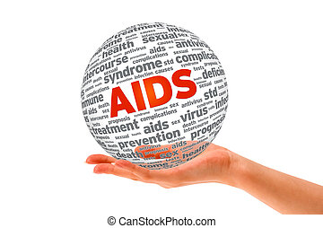 Hand holding a Aids 3D Sphere