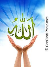 Hand holding a Allah sign - Hand holding a allah sign on...