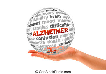 Alzheimer - Hand holding a Alzheimer Word Sphere on white...