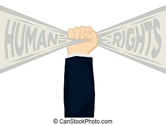 Hand fist holding a ribbon banner with text of human rights. Concept of human rights enforcement, liberty freedom or unity fighter. Flat vector illustration.