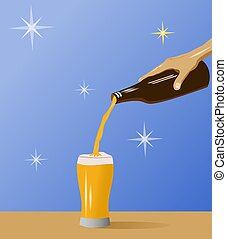 Hand holding a beer bottle pouring into a glass with blue background