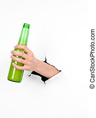 hand holding a beer bottle through a white paper