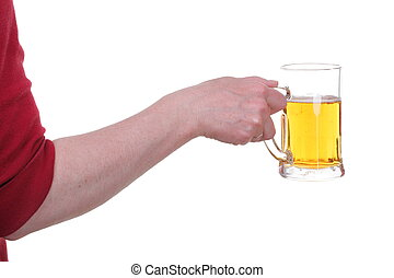 Hand holding a beer