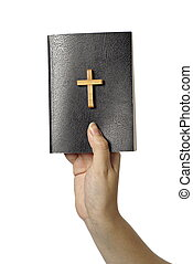 Hand holding a bible