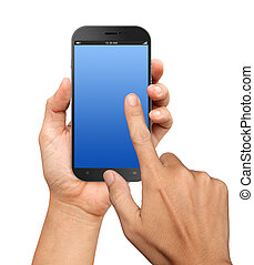 Hand holding A Big Screen Smartphone with blank screen on ...