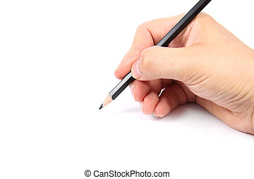 Hand holding a black pencil on white  background