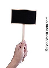 hand holding a blank blackboard label isolated on a white background