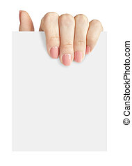 hand holding a blank business card isolated on white background