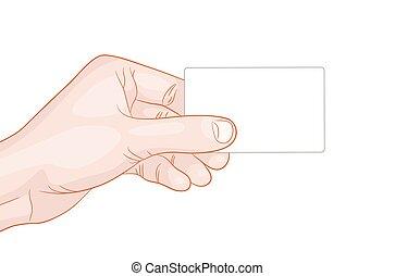 hand holding a blank card