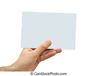 Hand holding a blank paper isolated on white background