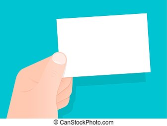 Hand holding a blank white business card with copy space for...