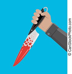 Hand holding a bloody knife. Vector illustration in flat...