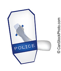 Hand Holding A Blue Riot Shield on White Background