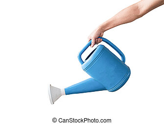Hand holding a blue watering can, Isolated on white