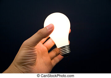 Hand holding a Bright Light Bulb