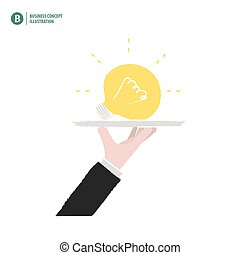 Hand holding a bulb on a platter meaning the idea on white background illustration vector. Business concept.