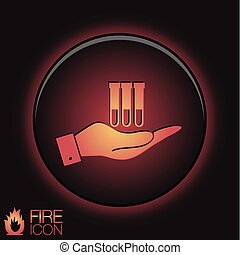 hand holding a bulb or beaker. symbol icon of medicine or chemistry . the study of science
