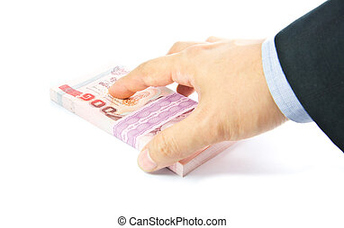 Hand holding a bulk of 100 baht Thailand banknote - Hand...