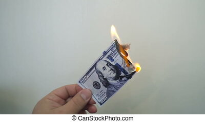 Hand holding a burning hundred dollar banknote