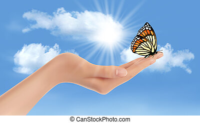 Hand holding a butterfly against a blue sky and sun. Vector...