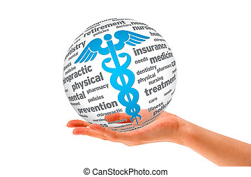 Hand holding a Caduceus Sphere