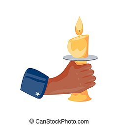 hand holding a candle on white background